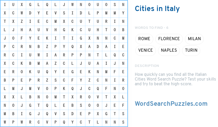 cities in italy word search puzzle