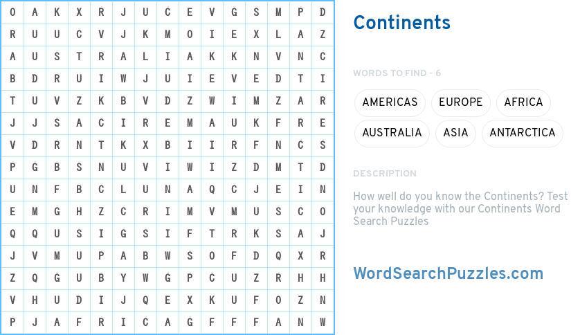 Continents Word Search Puzzle Wordsearchpuzzles Com