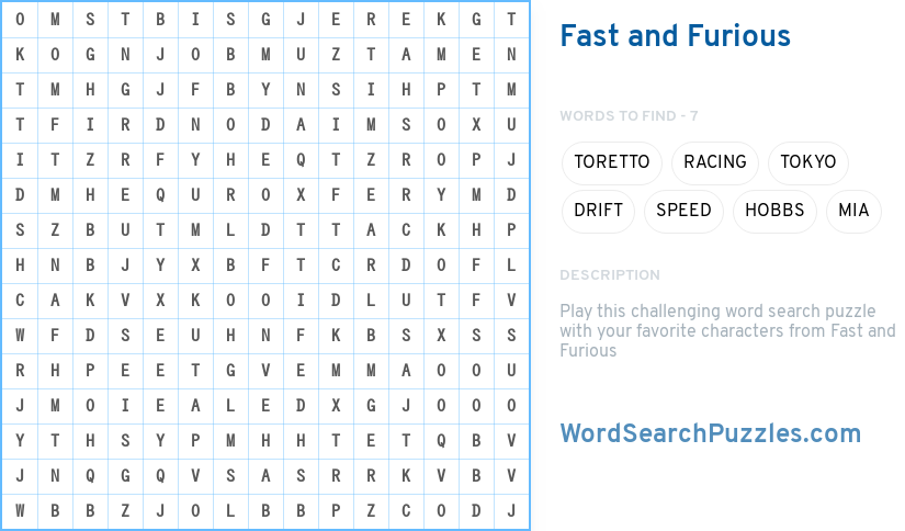 fast and furious word search puzzle