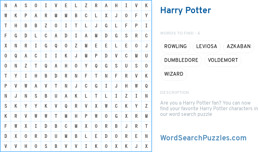 Harry Potter Word Search Puzzle Wordsearchpuzzles Com