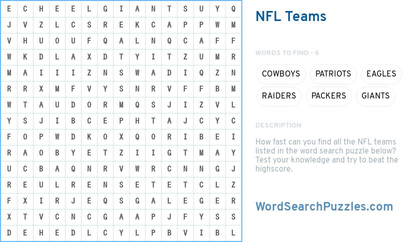 nfl teams word search puzzle